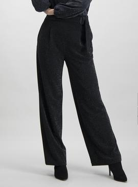 Black Sparkle Jersey Trousers