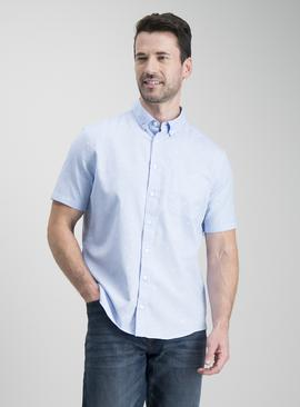 Blue Oxford Tropical Print Regular Fit Shirt