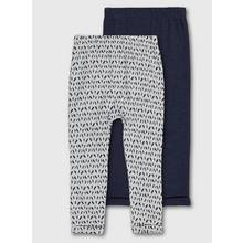 Grey Printed & Blue Leggings 2 Pack