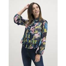 Navy Watercolour Print Pussybow Blouse