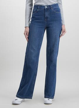 Mid-Wash Denim Wide Leg Jeans