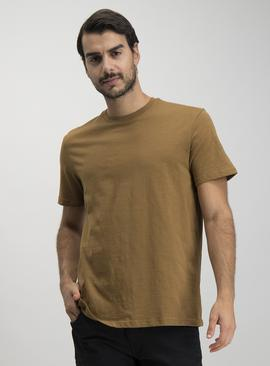 Brown Relaxed Fit Slub T-Shirt