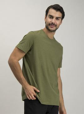 Khaki Relaxed Fit Crew Neck T-Shirt