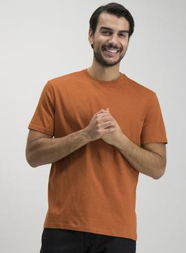 Orange Relaxed Fit Slub T-Shirt