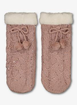 Pink Knitted Cosy Slipper Socks - 12.5-3.5