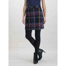 Navy Brushed Check Buckle Detail Mini Skirt