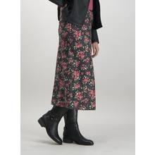 Floral Spot Print Satin Midi Skirt