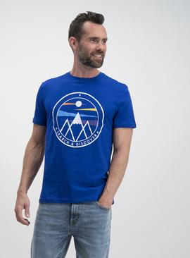 Cobalt Blue Mountain Graphic T-Shirt