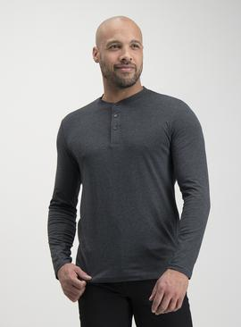 Charcoal Grey Grandad Long Sleeve Top