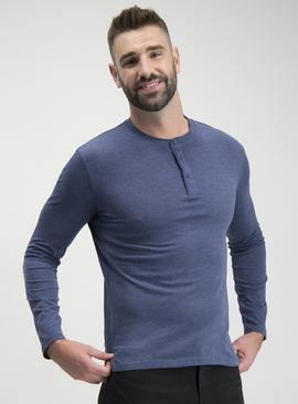 Marl Blue Grandad Long-Sleeved Top