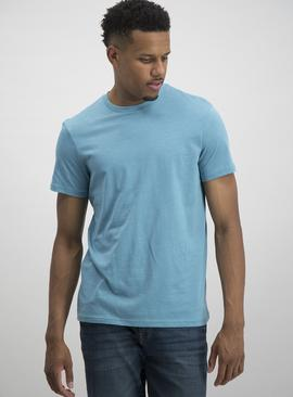 Light Blue Slub Crew Neck T-Shirt