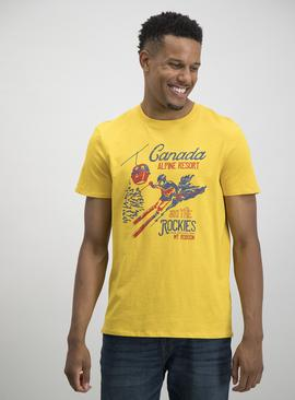 Yellow Ski Print T-Shirt