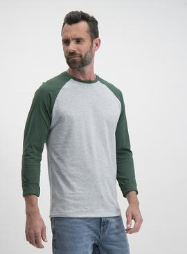 Grey & Green Long Sleeve Raglan T-Shirt