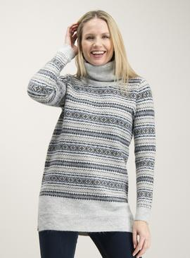Grey Sparkle Fair Isle Roll Neck Tunic
