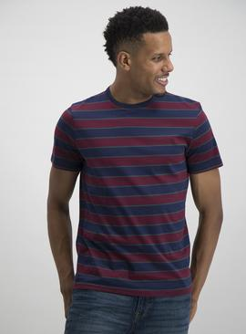 Dark Red Striped Short Sleeve T-Shirt