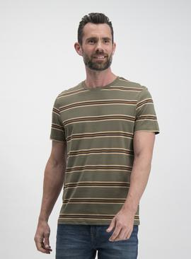 Online Exclusive Khaki Stripe Regular Fit T-Shirt
