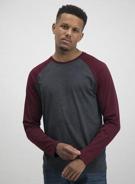 Dark Red & Grey Raglan Sleeve Top