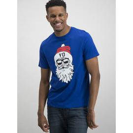 Christmas Cobalt Blue Santa T-Shirt