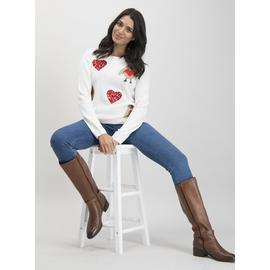 Christmas Cream Robin & Sequin Heart Jumper