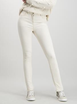 Cream Skinny Jeans With Stretch