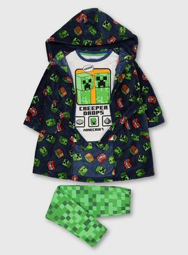 Minecraft Navy Dressing Gown & Pyjamas Set