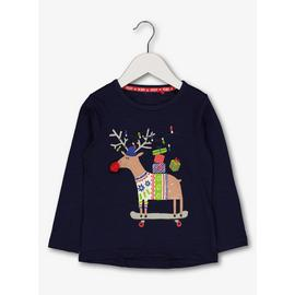 Christmas Navy Blue Reindeer Top