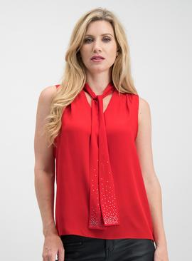 Red Neck Tie Sleeveless Blouse