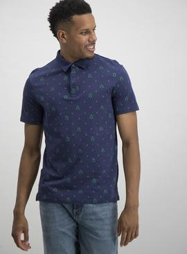 Christmas Navy Festive Tree Print Polo Shirt