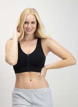 Black Seamless Zip Front Crop Top