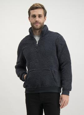 Charcoal Grey Half Zip Borg Lounge Fleece
