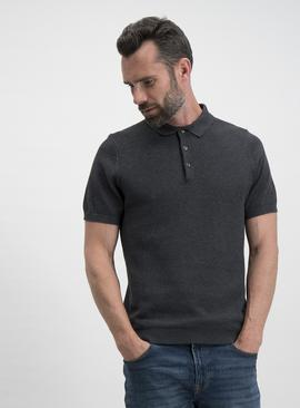 Charcoal Grey Pique Knitted Polo Shirt