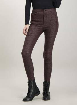 Burgundy Cracked Coated Skinny Jeans With Stretch