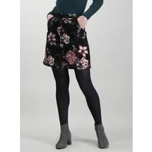 Black & Pink Floral Corduroy Skirt