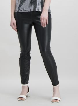 Black PU Skinny Trousers With Stretch