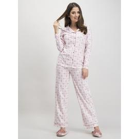 Winter White & Dusky Pink Jersey Traditional Pyjamas