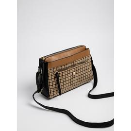 Multicoloured Check & Faux Leather Cross Body Bag - One Size
