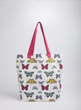 Multicoloured Butterfly Print Canvas Shopping Bag - One Size