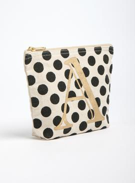 Online Exclusive Natural Spot Alphabet Cosmetic Bag