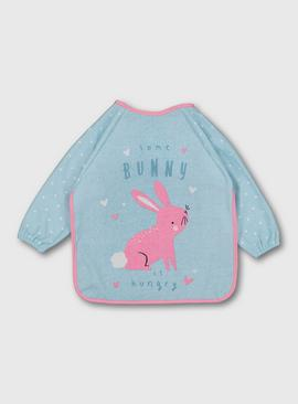 Pink & Blue Bunny Long Sleeve Bunny Bib - One Size