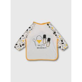 White Egg & Soldiers Long Sleeve Bib - One Size