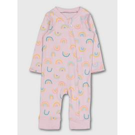 Pink Rainbow Zip Through Sleepsuit