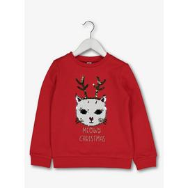 Christmas Red Cat Sequin Sweatshirt