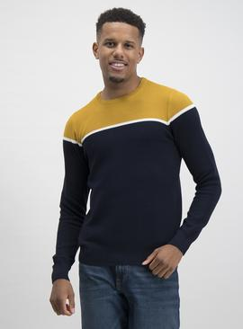 Navy & Mustard Block Stripe Jumper
