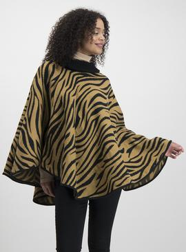 Brown & Black Animal Print Roll Neck Poncho - One Size