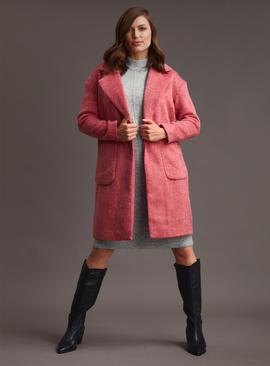 PREMIUM Rose Pink Brushed Crombie Coat