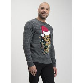 Christmas Star Wars Chewbacca Grey Light Up Jumper