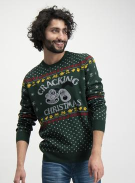 Online Exclusive Christmas Wallace & Gromit Green Jumper