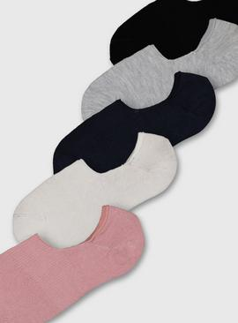 Multicoloured No Show Trainer Socks 5 Pack - 4-8