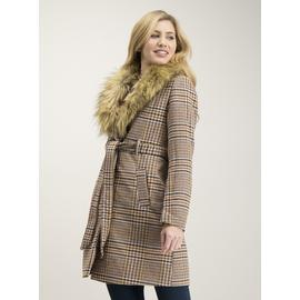 Beige Dogtooth Check Detachable Fur Collar Coat