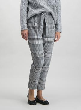 Grey Sparkle Check Tapered Leg Trousers